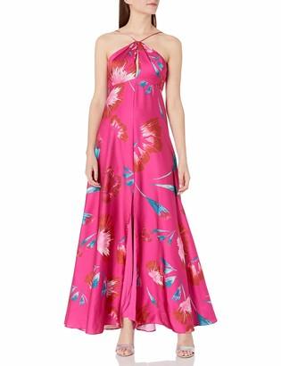 Aidan Mattox Aidan Women's Halter Printed Satin Dress with Keyhole