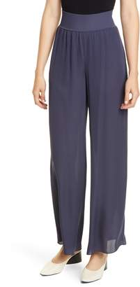 Theory Rib Waist Wide Leg Silk Pants