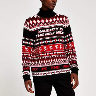 River Island Red roll neck printed Christmas jumper