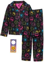 Girls 6-12 Black Smiley Pajama Set