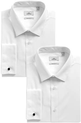 Next Mens White Regular Fit Double Cuff Shirts Two Pack - White