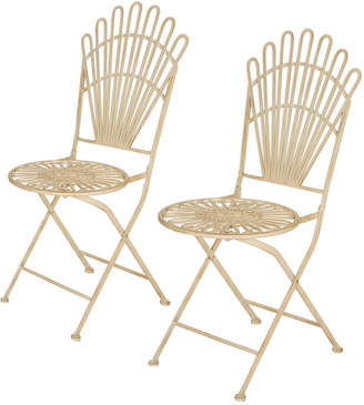 Glitz Home Set Of 2 36.25In Metal Antique White Folding Patio Dining Table Chairs