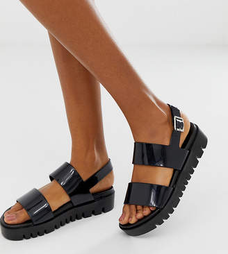 Asos Design DESIGN Wide Fit Fadey chunky jelly flat sandals-Black