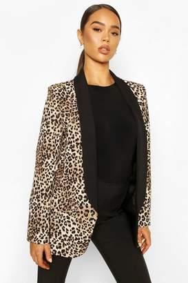 boohoo Contrast Lapel Leopard Point Blazer