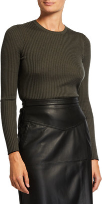 Gabriela Hearst Browning Rib Knit Cashmere-Silk Sweater w/ Tipping