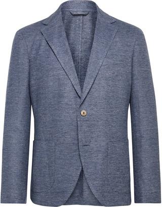 Altea Tito Slim-fit Unstructured Herringbone Linen Blazer - Blue