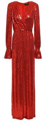 Jenny Packham Wrap-effect Embellished Sequined Silk Gown