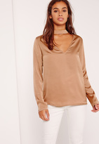 Missguided Petite Exclusive Satin Choker Neck Blouse Gold