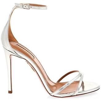 Aquazzura Purist Metallic Leather Ankle-Strap Sandals