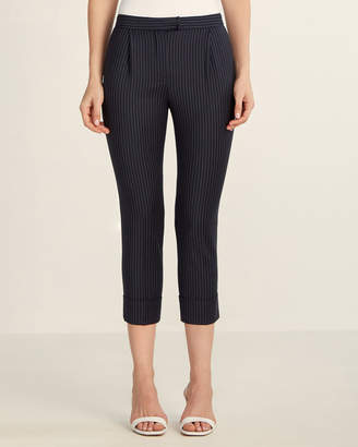 Les Copains Vertical Stripe Cuffed Wool-Blend Cropped Pants