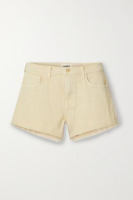 L'Agence Audrey Frayed Denim Shorts - Beige