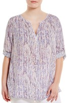 NYDJ Plus Abstract Print Top