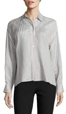 Vince Stripe Cropped Silk Shirt