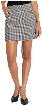 Elliott Lauren Stretch Gingham Two-Pocket Skort with Side Slits (Black/White) Women's Skort