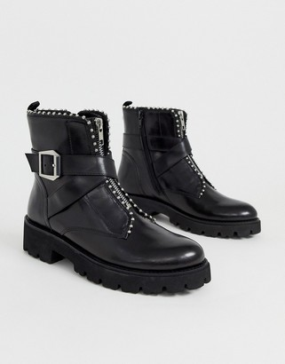 Steve Madden Jackie chunky flat stud detail ankle boots-Black