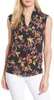 Chaus Women's Print Pleat Front Top