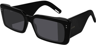 Gucci Two-Tone Chunky Rectangle Sunglasses