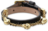 Alexander McQueen Leather & Chain Skull Wrap Bracelet
