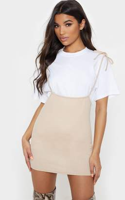 PrettyLittleThing Stone Tie Shoulder Jersey Pinafore Dress