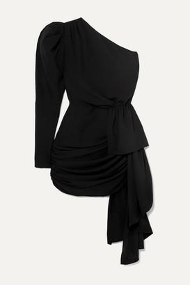 16Arlington One-sleeve Draped Crepe Mini Dress - Black