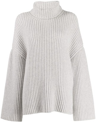 Nanushka Raw chunky knit turtleneck jumper