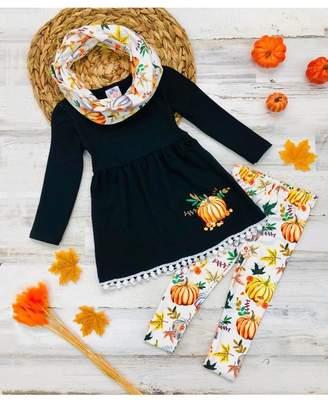 Mia Belle Baby Pumpkin Print Circle Trim Hem Long Sleeve Tunic, Leggings & Scarf Set (Toddler & Little Girls)