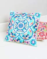 bombay duck Blue Embroidered Floral Cushion