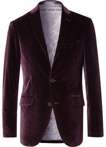 Etro Grape Slim-Fit Unstructured Stretch-Cotton Velvet Blazer