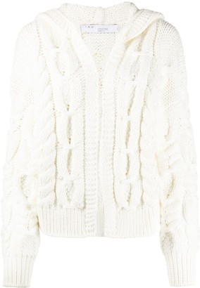 IRO Hooded Cable-Knit Cardigan