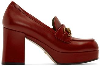 Gucci Red Houdan Horsebit 85 Heels