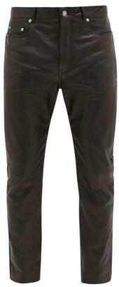 Saint Laurent Crinkled Leather Slim-leg Jeans - Black