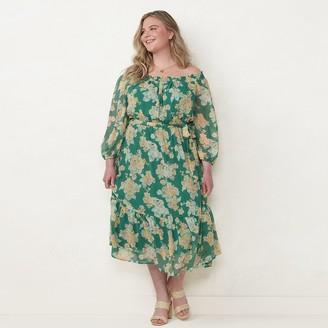 Lauren Conrad Plus Size Smocked Off Shoulder Maxi Dress