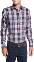 Peter Millar Yorkshire Plaid Sport Shirt, Navy/Pink