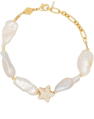 Anni Lu 18K gold-plated Dolores howlite star and pearl bracelet