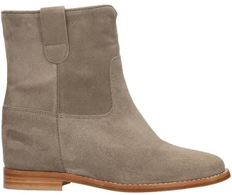 Julie Dee Low Heels Ankle Boots In Taupe Suede