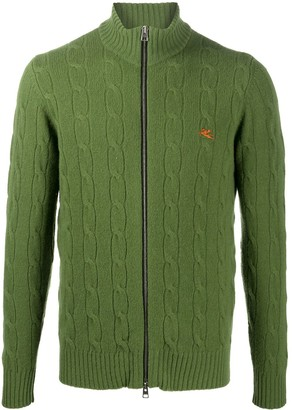 Etro Cable-Knit Zip-Up Cardigan