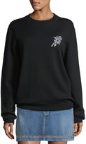 Frame Crewneck Wool-Blend Sweatshirt w/ Embroidery