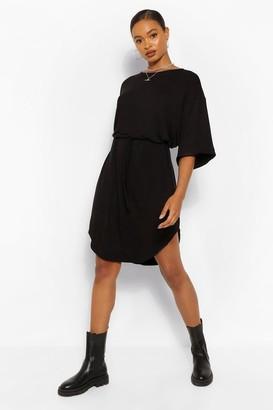 boohoo Belted Curved Hem Midi Dress