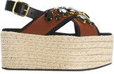 Marni embellished maxi-platform sandals - women - Raffia/Leather/Nylon/glass - 40