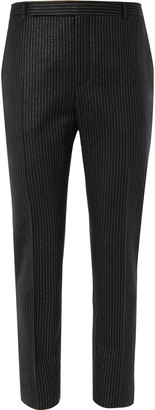Saint Laurent Metallic Pinstripe Wool-Blend Trousers