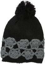 Betsey Johnson Women's Winter Bloom Beanie with Lace Applique Detail