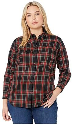 Lauren Ralph Lauren Plus Size Collared Cotton Shirt (Red/Polo Black) Women's Clothing
