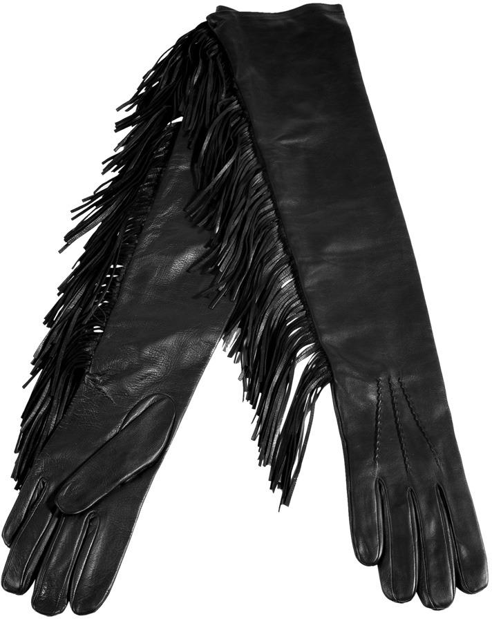 Ermanno Scervino Black Fringed Leather Elbow Gloves