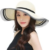 Siggi Packable Straw Panama Summer Beach Sun Hat Floppy Wide Brim UV for Women White