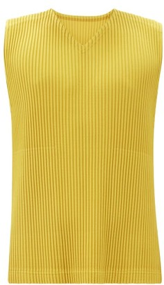 Homme Plissé Issey Miyake V-neck Technical-pleated Top - Yellow