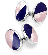 Aspinal of London Sterling Silver Black Onyx & Mother of Pearl Oval Bicolour Cufflinks
