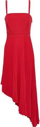 Milly Eliza Asymmetric Pleated Neon Cady Midi Dress