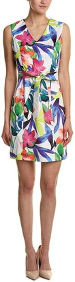 Ellen Tracy Women's Tropical Floral Print Dress with Self Belt