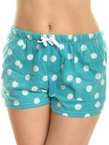 Angelina Aqua & White Dot Side-Pocket Fleece Boxers - Plus Too