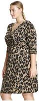Joe Fresh Women+ Print Wrap Dress, Brown (Size 3X)